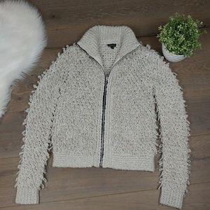 TOPSHOP Shaggy Chunky Zip Sweater Jacket